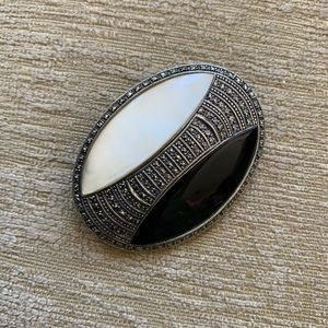 Ross-Simons sterling, onyx, and pearl pin